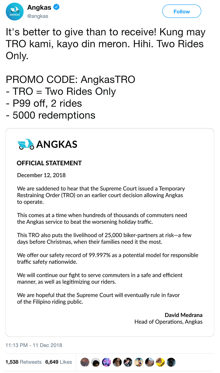 Defiant Angkas vs  LTFRB is like Uber all over again | VISOR PH