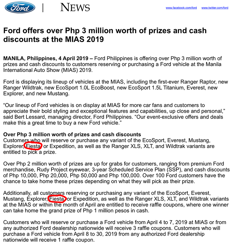 It seems Ford PH has quietly removed the Fiesta from its